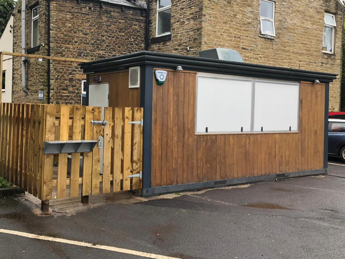 Takeaway burger and butty bar erected in a pub's car park to cater breakfasts and lunch, plus nearby football ground matches.